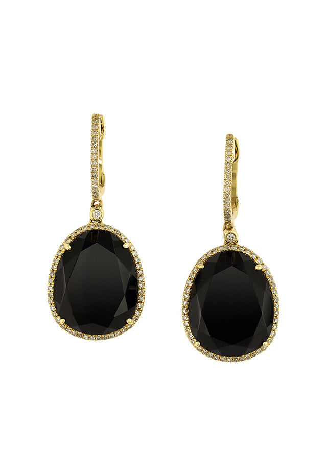 Effy Eclipse 14K Yellow Gold Onyx and Diamond Earrings, 11.67 TCW