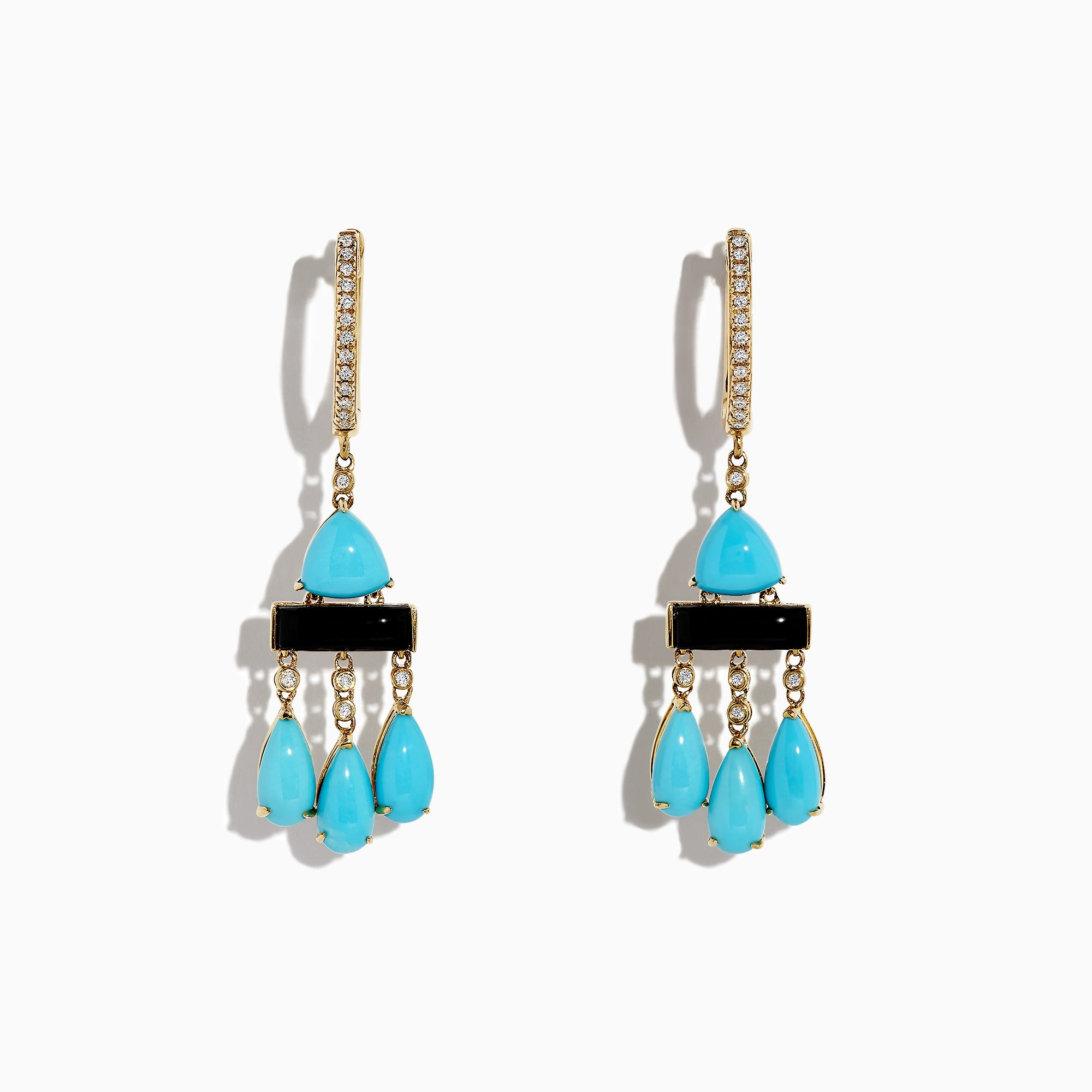 Effy 14K Yellow Gold Turquoise and Diamond Drop Earrings, 5.78 TCW
