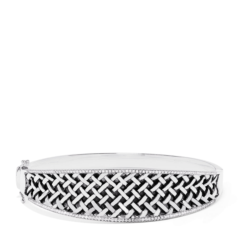 Effy 925 Sterling Silver Diamond Accented Bangle, 0.50 TCW