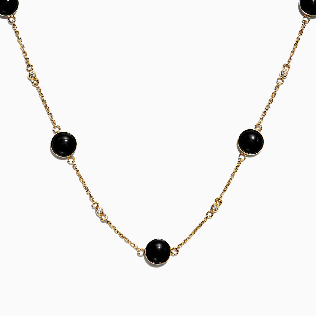 Effy 14K Yellow Gold Onyx Station Necklace, 5.03 TCW