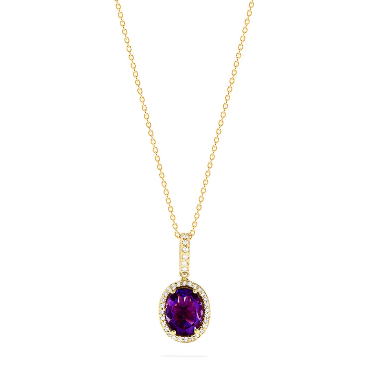 Effy 14K Yellow Gold Amethyst and Diamond Pendant, 1.66 TCW
