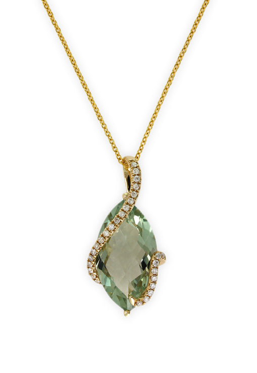 Yellow Gold Green Amethyst & Diamond Pendant, 6.74 TCW