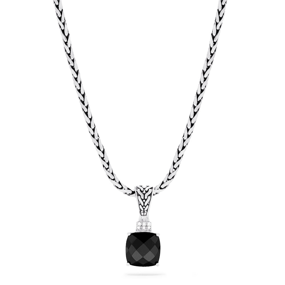 Effy 925 Sterling Silver Onyx and Diamond Pendant, 4.93 TCW