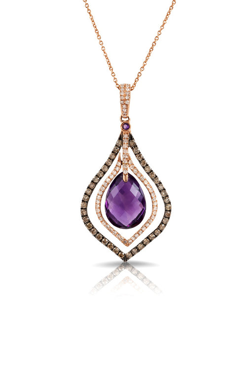 14K Rose Gold Amethyst and Diamond Pendant, 6.66 TCW