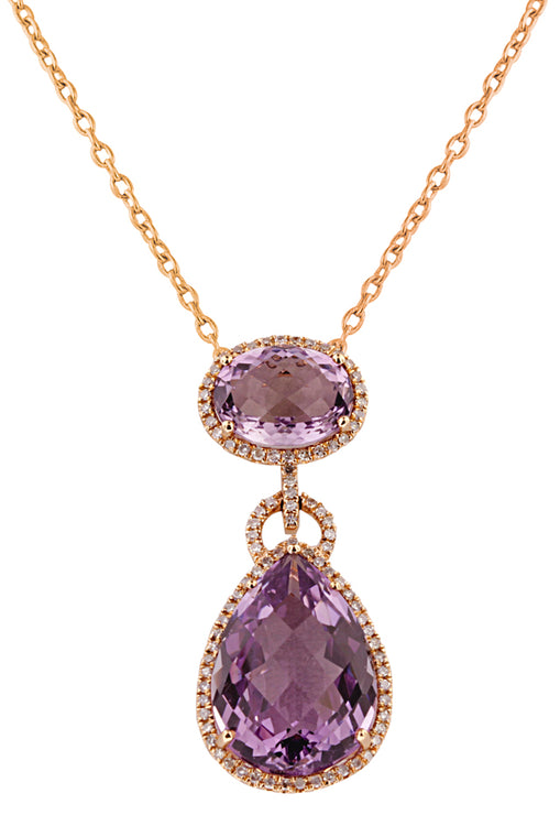 Effy 14K Rose Gold Amethyst and Diamond Pendant, 14.36 TCW