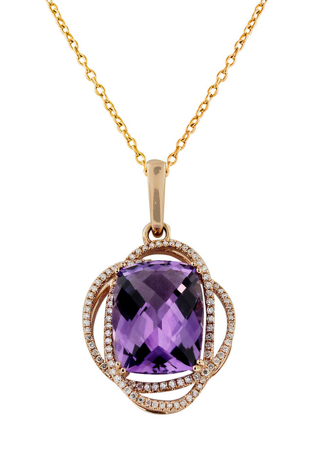 14K Rose Gold Amethyst and Diamond Pendant, 9.59 TCW