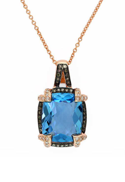 Effy 14K Rose Gold Blue Topaz and Diamond Pendant, 6.70 TCW