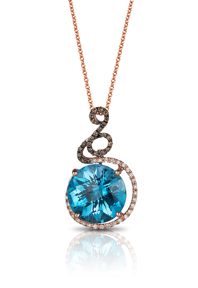 14K Rose Gold Blue Topaz and Diamond Pendant, 9.33 TCW