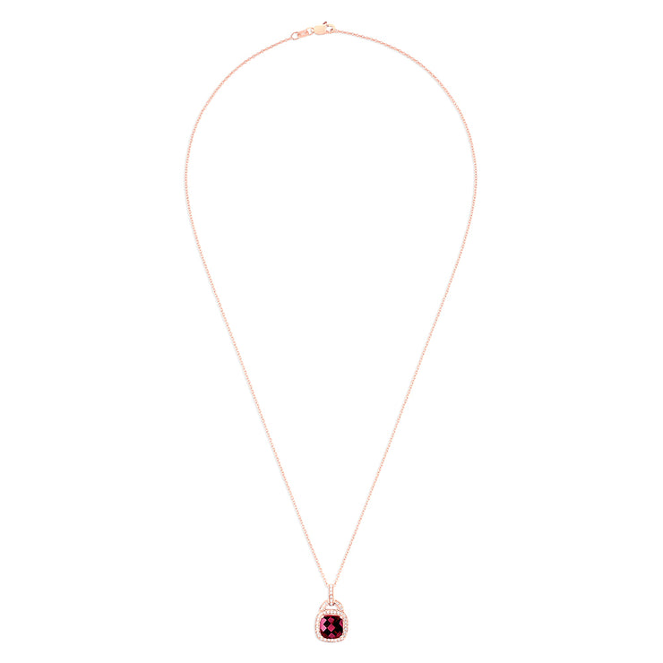 Effy 14K Rose Gold Rhodolite Garnet and Diamond Pendant, 2.96 TCW