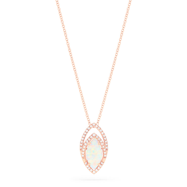 Effy 14K Rose Gold Opal and Diamond Pendant, 1.23 TCW