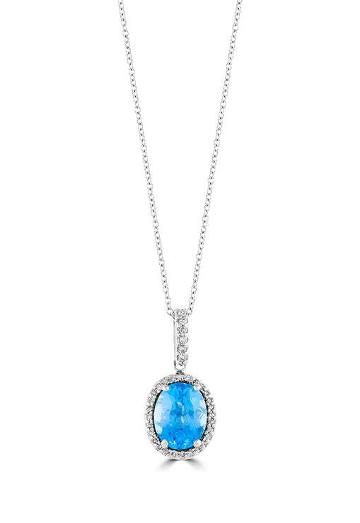 Effy 14K White Gold Blue Topaz and Diamond Pendant, 2.42 TCW