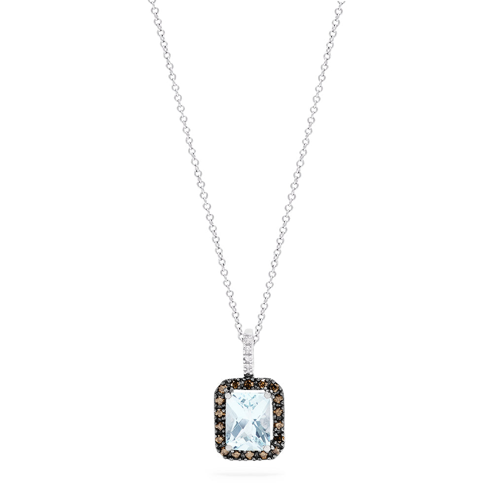 Effy 14K White Gold Aquamarine and Diamond Pendant, 2.52 TCW