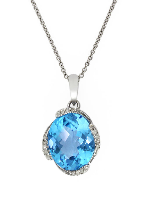14K White Gold Blue Topaz & Diamond Pendant, 4.71 TCW
