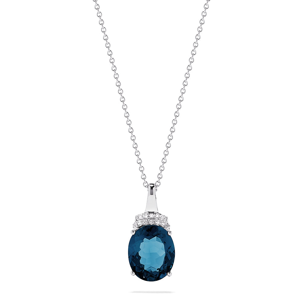 Effy 14K White Gold Blue Topaz and Diamond Pendant, 5.36 TCW