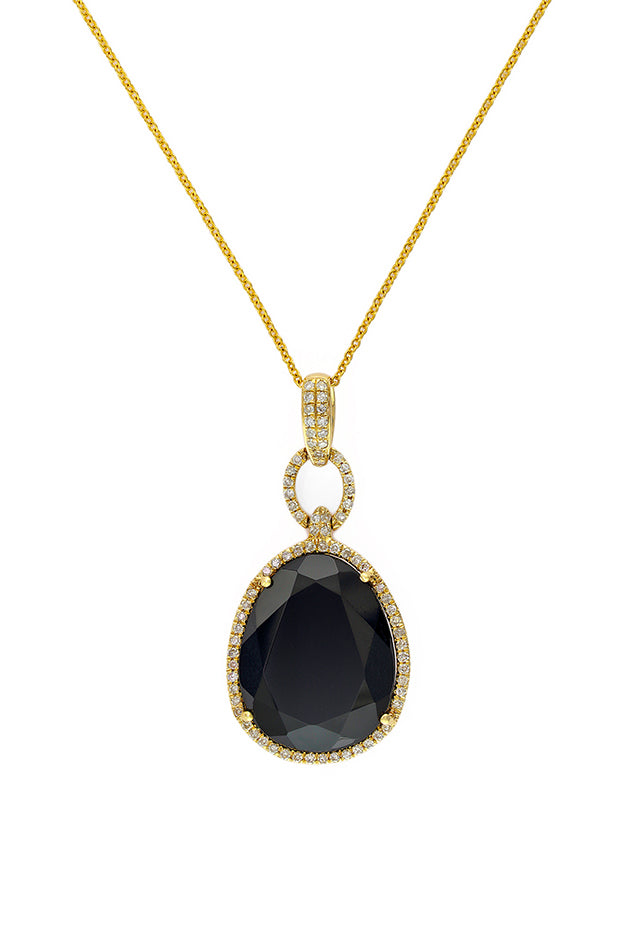 Effy Eclipse 14K Yellow Gold Onyx and Diamond Pendant, 9.60 TCW