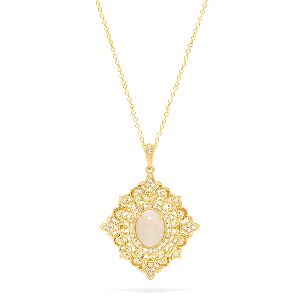 Effy Aurora 14K Yellow Gold Opal and Diamond Pendant, 1.24 TCW