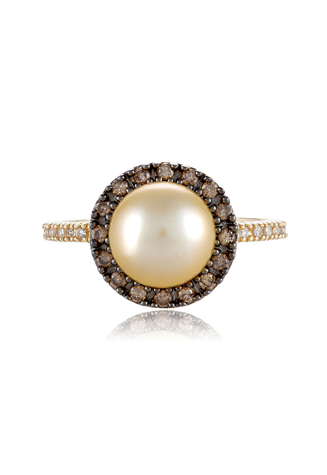 Effy 14K Yellow Gold Cultured Pearl and Diamond Ring, 0.31 TCW