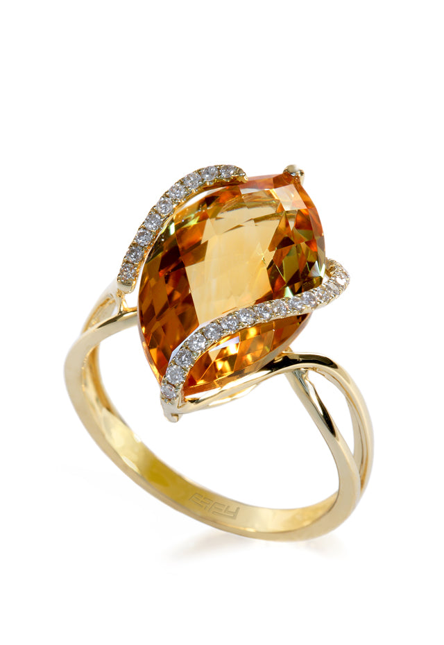 Effy Sunset 14K Yellow Gold Citrine and Diamond Ring, 6.29 TCW