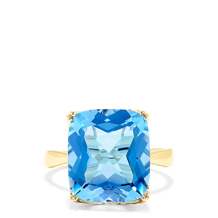 Effy 14K Yellow Gold Blue Topaz and Diamond Cocktail Ring, 11.16 TCW