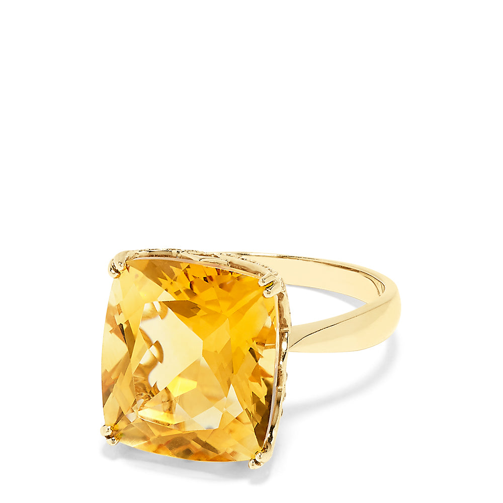 Effy 14K Yellow Gold Citrine and Diamond Accented Cocktail Ring, 9.16 TCW