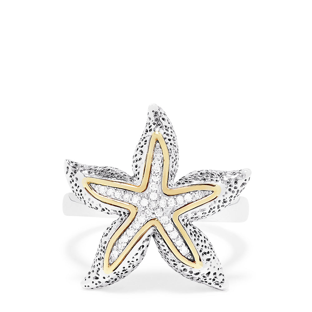 Effy Sterling Silver & 18K Gold Accented Diamond Starfish Ring, 0.10 TCW