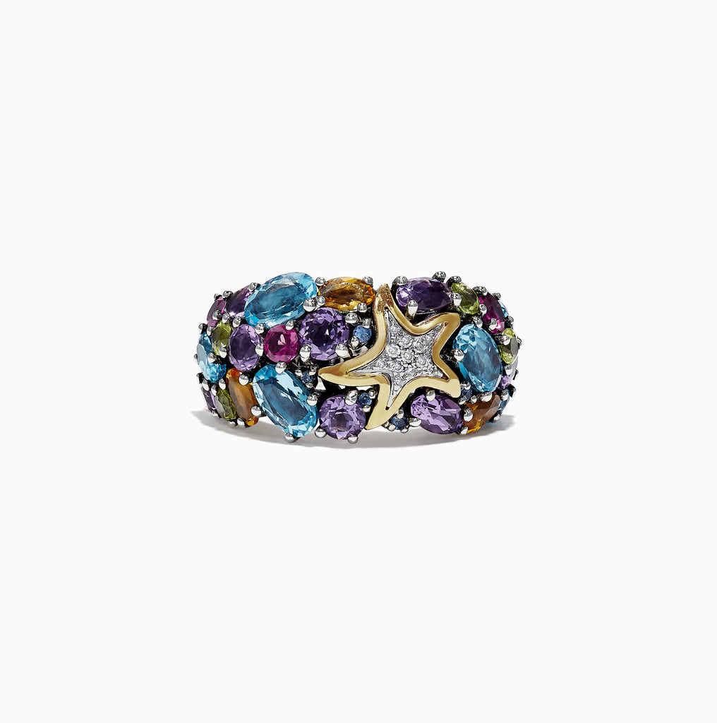 Effy Seaside Sterling Silver Mix Gemstone & Diamond Starfish Ring, 5.71 TCW