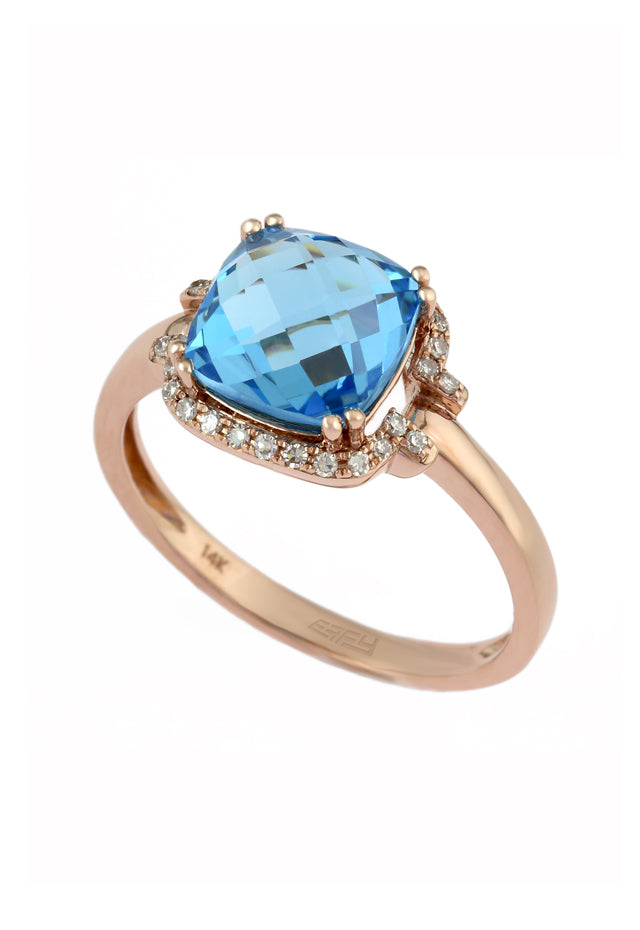 14K Rose Gold Blue Topaz and Diamond Ring, 3.10 TCW