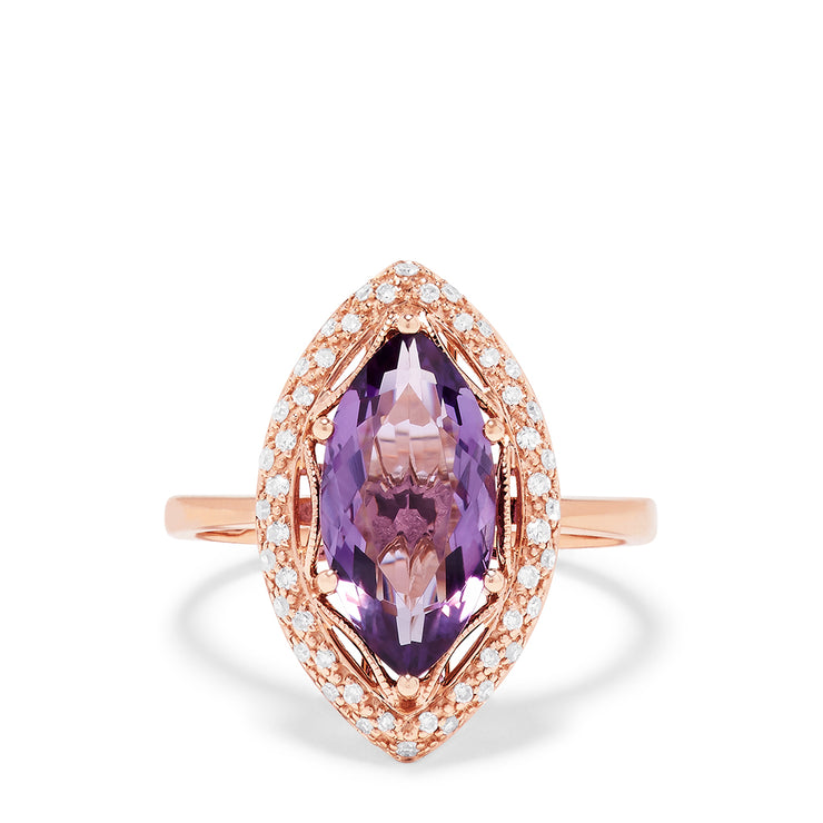 Effy 14K Rose Gold Amethyst and Diamond Ring, 3.20 TCW