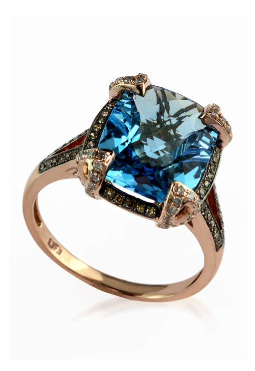 Effy 14K Rose Gold Blue Topaz and Diamond Ring, 6.76 TCW