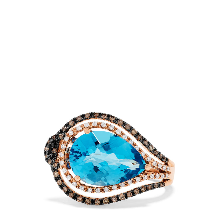 Effy 14K Rose Gold Blue Topaz and Diamond Ring, 6.85 TCW