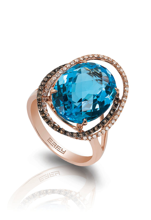 14K Rose Gold Blue Topaz and Diamond Ring, 12.52 TCW