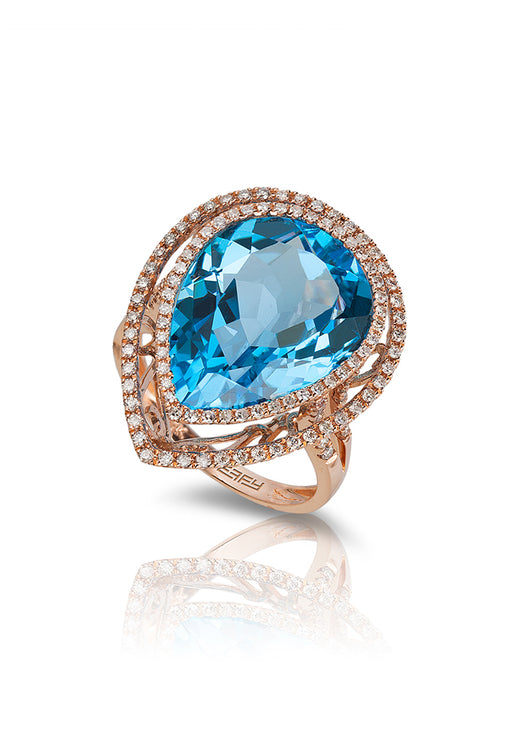 14K Rose Gold Blue Topaz and Diamond Ring, 14.81 TCW