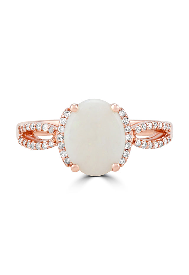 Effy Aurora 14K Rose Gold Opal and Diamond Ring, 1.62 TCW