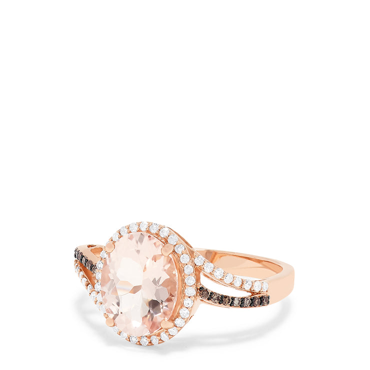 Effy 14K Rose Gold Morganite and Diamond Ring, 2.80 TCW