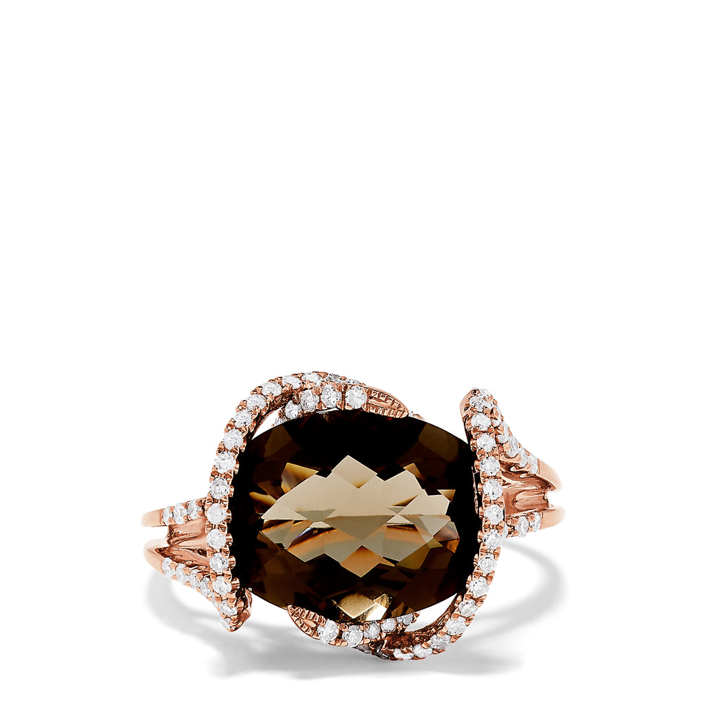 Effy 14K Rose Gold Smokey Quartz and Diamond Ring, 6.80 TCW