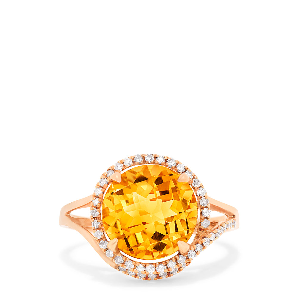 Effy 14K Rose Gold Citrine and Diamond Ring, 4.47 TCW