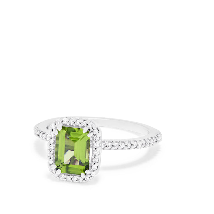 Effy 14K White Gold Peridot and Diamond Ring, 1.86 TCW