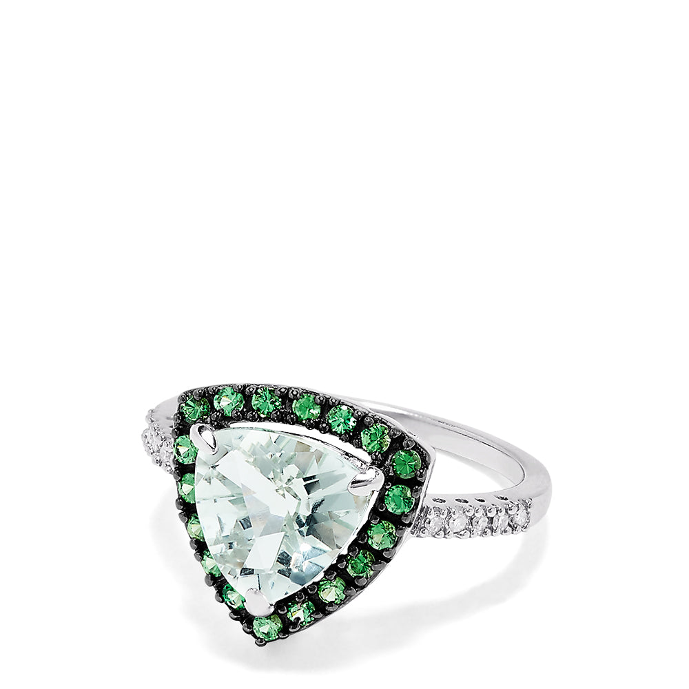 Effy 14K White Gold Green Amethyst, Tsavorite and Diamond Ring, 3.00 TCW