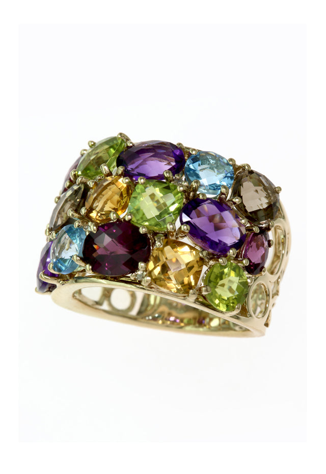 14K Yellow Gold Multi Color Gemstone Ring, 8.04 TCW