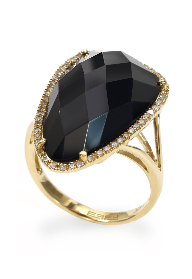 Effy Eclipse 14K Yellow Gold Onyx and Diamond Ring, 11.50 TCW