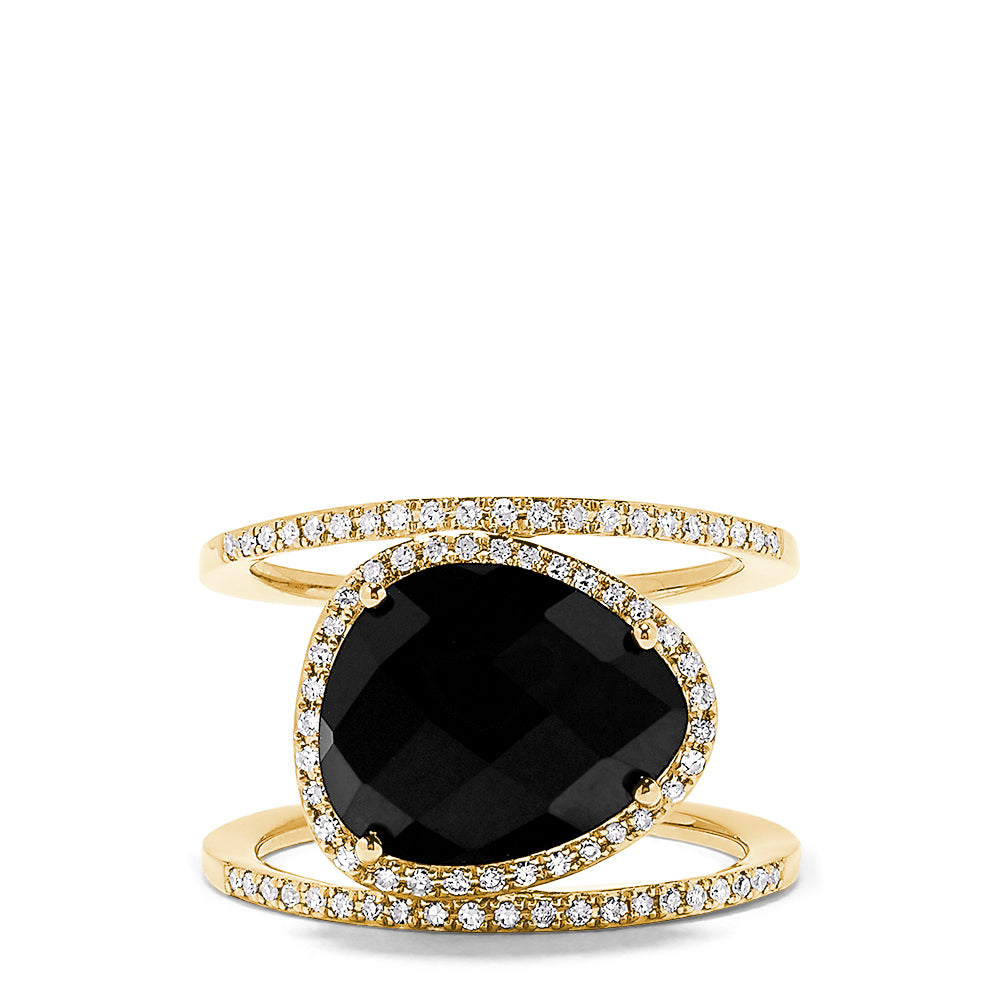 Effy Eclipse 14K Yellow Gold Onyx and Diamond Rings, 5.39 TCW