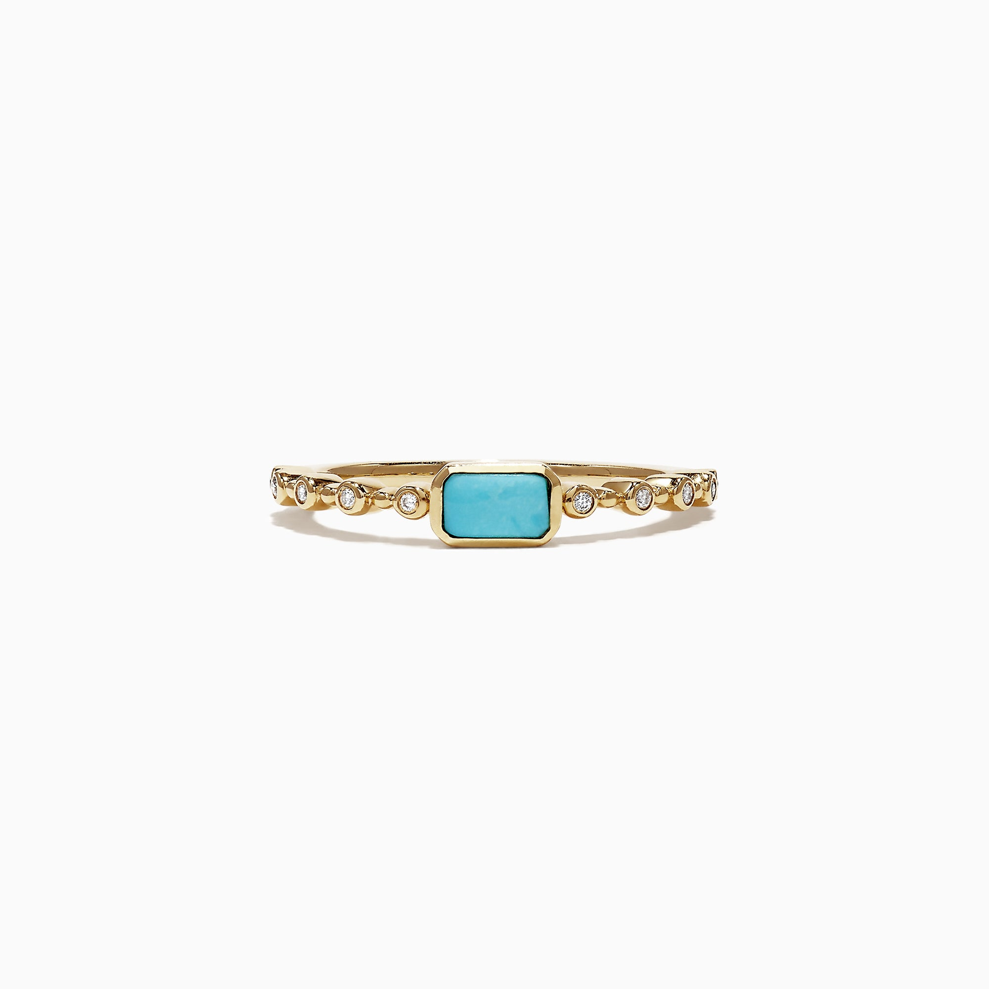 Effy 14K Yellow Gold Turquoise and Diamond Ring, 0.39 TCW