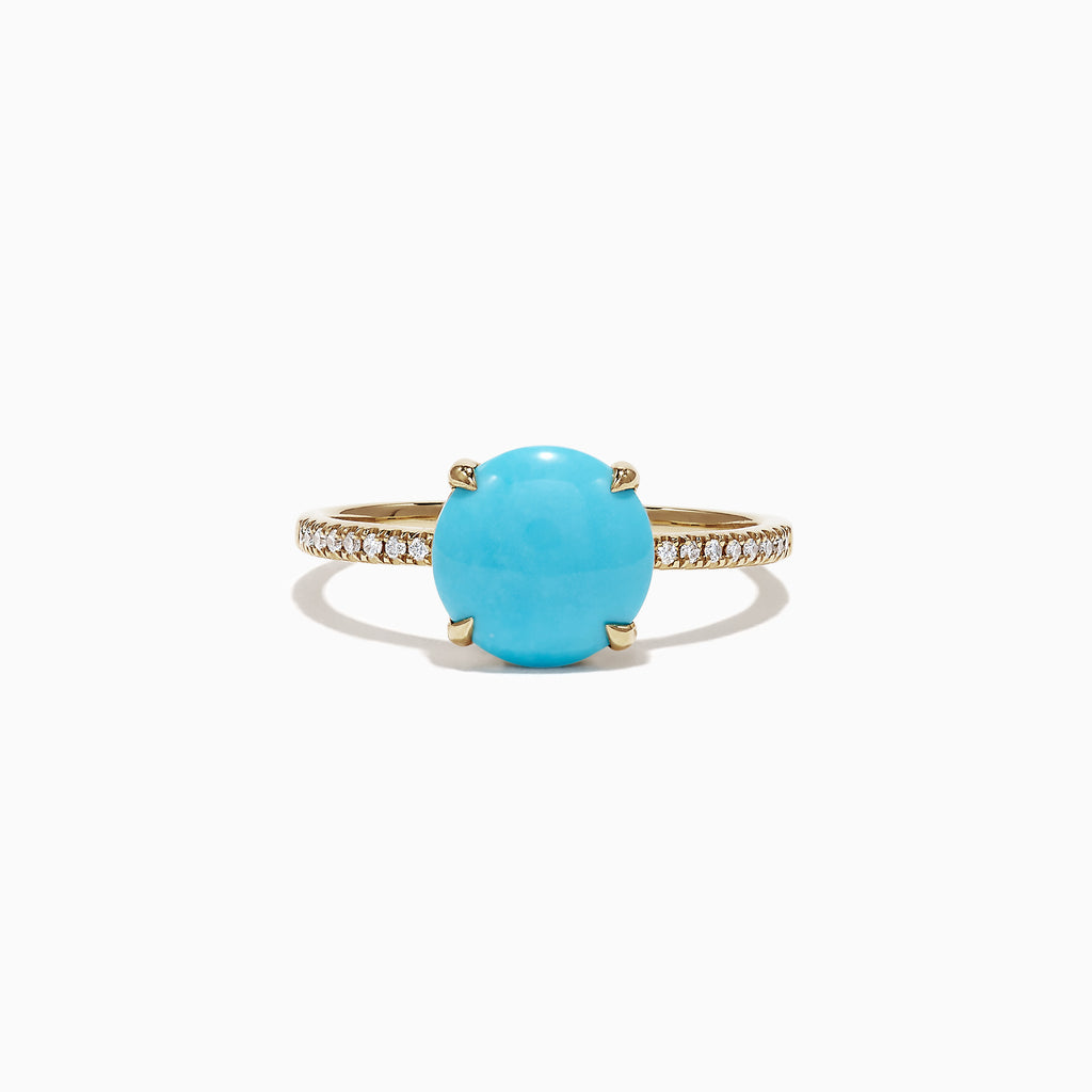Effy 14K  Yellow Gold Turquoise Diamond Ring, 1.40 TCW