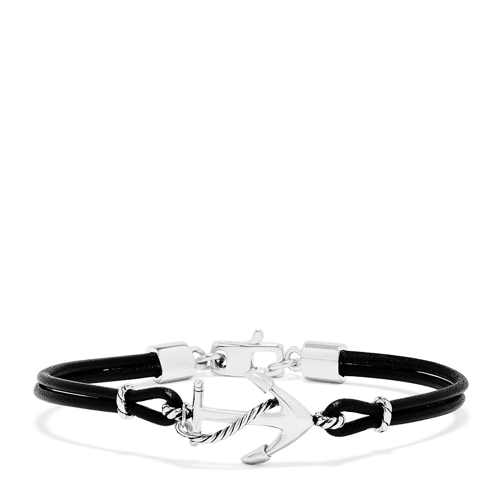 Effy Men's Sterling Silver and Leather Anchor Bracelet
