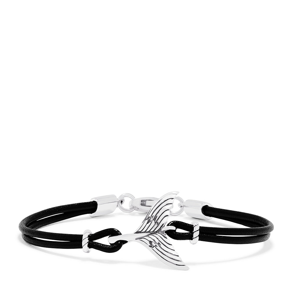 Effy Men's Sterling Silver and Leather Whale's Tail Bracelet