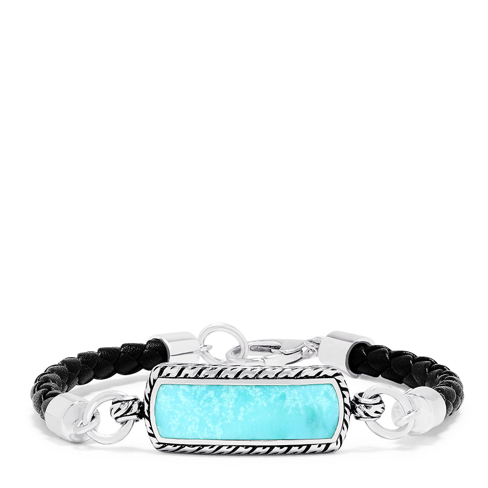 Effy Men's Sterling Silver and Leather Turquoise Bracelet, 5.40 TCW