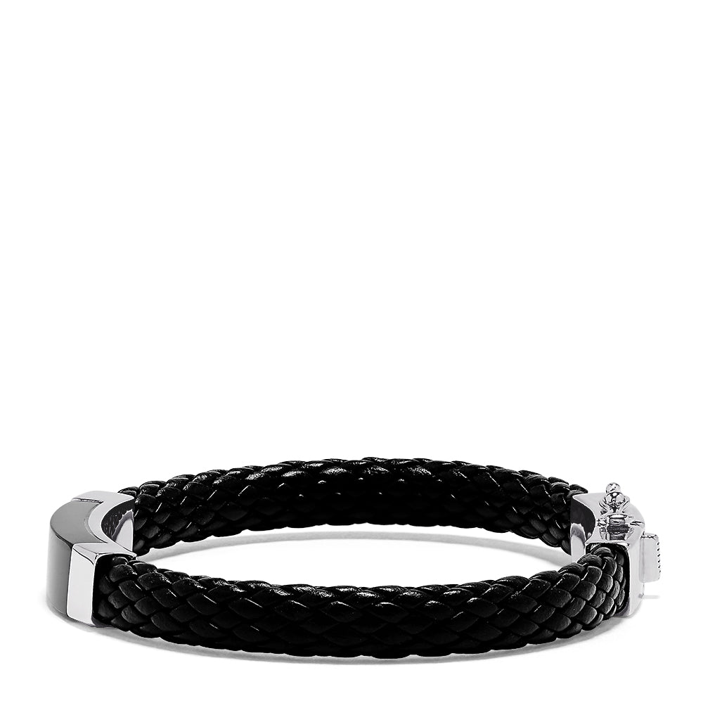 Effy Men's Sterling Silver and Leather Onyx Bracelet, 12.50 TCW