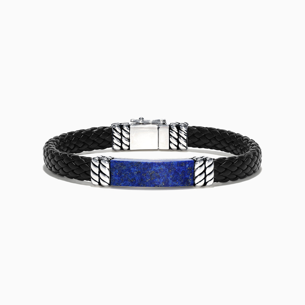Effy Men's Sterling Silver Lapis Lazuli Leather Bracelet, 12.00 TCW