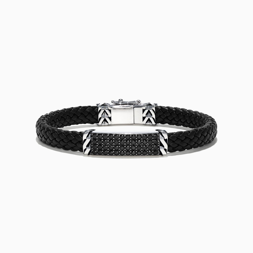 Effy Men's Sterling Silver Black Spinel Leather Bracelet, 2.11 TCW