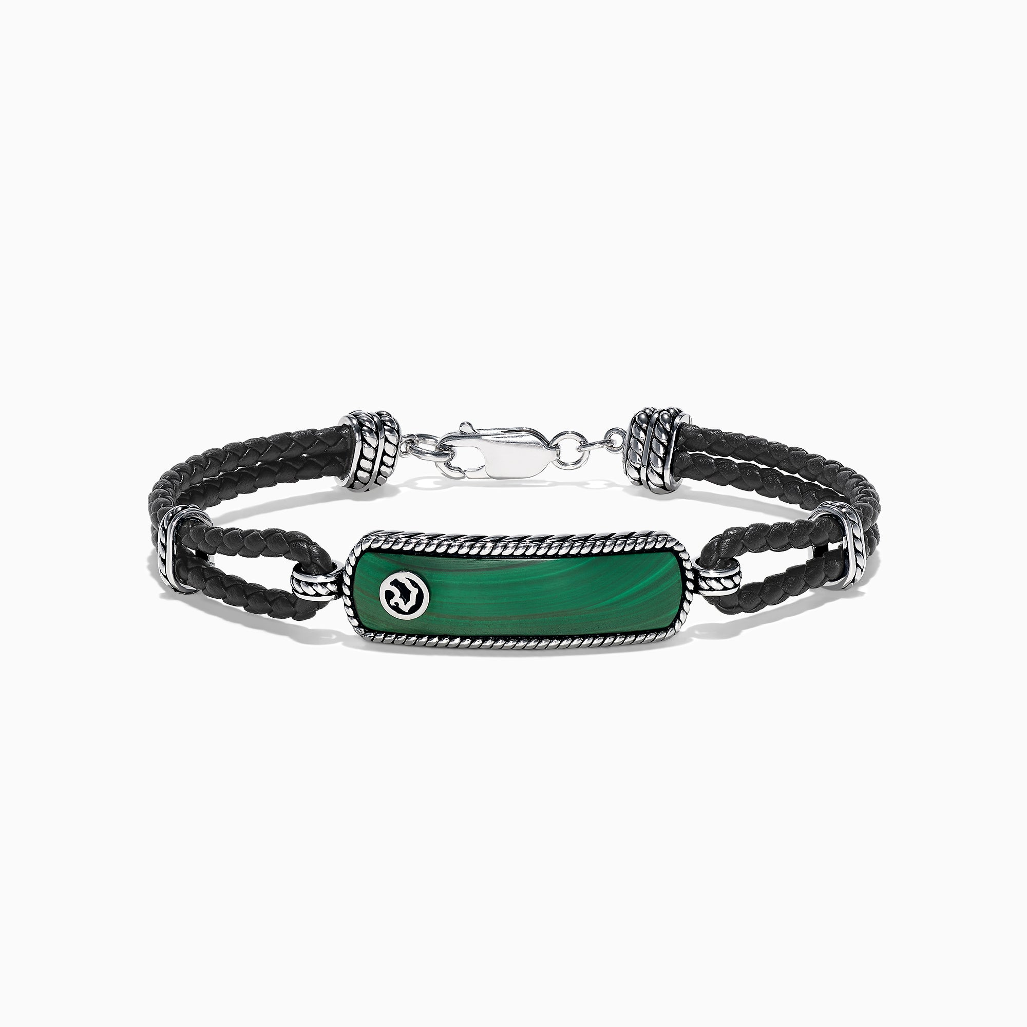 fd5956de73929 Effy Men's Sterling Silver Malachite Leather Bracelet, 10.50 TCW - Sterling  Silver / N/A
